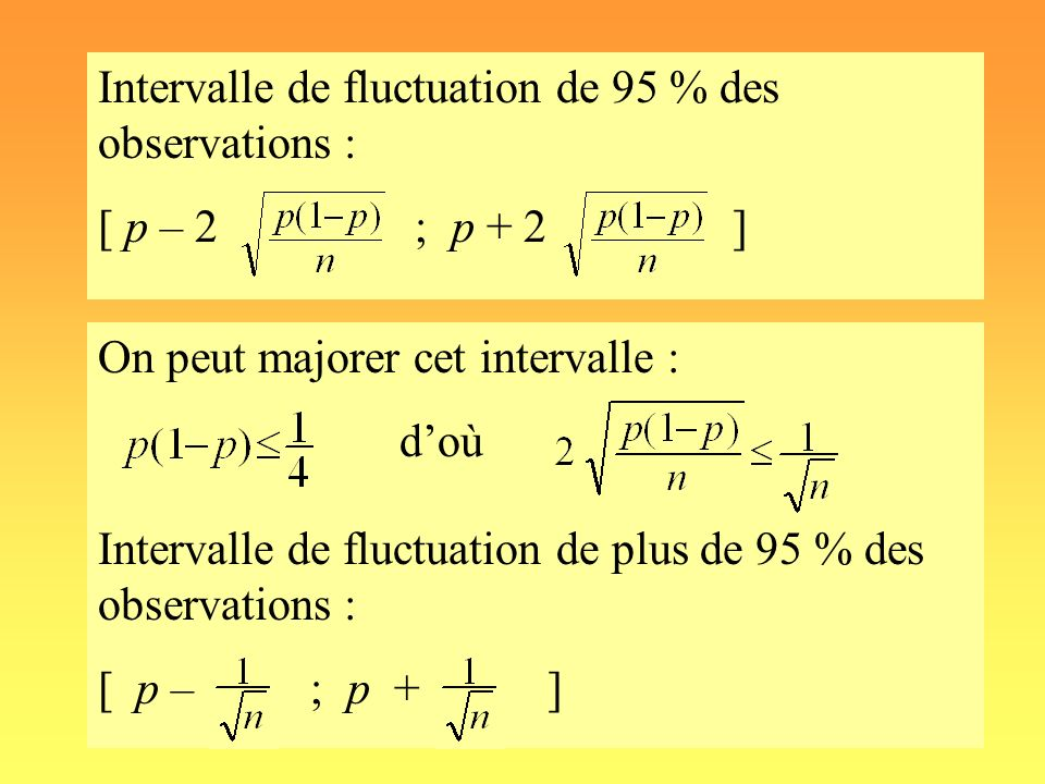 Intervalle de fluctuation de 95 % des observations : [ p – 2 ; p + 2 ]